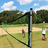 Volleyball Badminton Set Net Portable Adjustable Poles 4 Rackets Kids Family Fun...