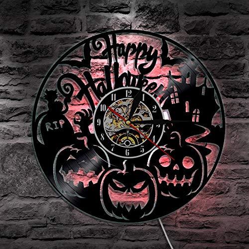 BFMBCHDJ Happy Halloween Hexe Vinyl Wandleuchte LED Beleuchtung Farbwechsel Vintage LP Handmade Geschenk dekorative Lampe Fernbedienung