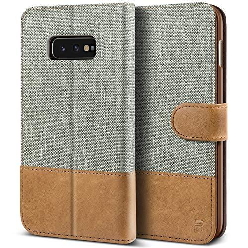 BEZ Handyhülle für Samsung Galaxy S10e Hülle, Tasche Kompatibel für Samsung Galaxy S10e, Schutzhüllen aus Klappetui mit Kreditkartenhaltern, Ständer, Magnetverschluss, Grau