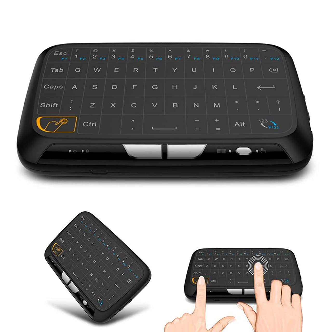 yanbirdfx H18 2.4GHz Mini Wireless Touch Keyboard Air Mouse for PC Laptop Smart Android TV - Black