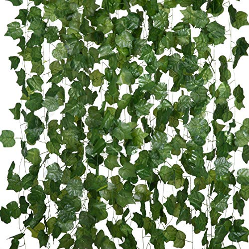 24 Pack Artificial Ivy Garland Fake Hanging Vines Green Leaves Fake Plants UV Resistant for Party Wedding Garden Wall Decoration