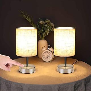 Lightsjoy Lámpara de Mesa Táctil Lámpara Mesilla de Noche Regulable Luz Nocturna Vintage para Dormitorio, Sala de Estar, Habitación para Niños, Oficina, Pantalla de Tela, Incluye Bombilla E14 (S7)