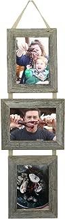 My Barnwood Frames - 3, 5x7 Reclaimed Barn Wood Frames Hanging on Burlap Ribbon, USA Made (Portrait-Landscape-Portrait)