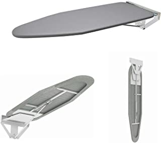 Compact Wall Mounted Ironing Board Wall Fixing Plate Drop Down with Heat Resistant Cover Lifting Concealed Ironing Board
