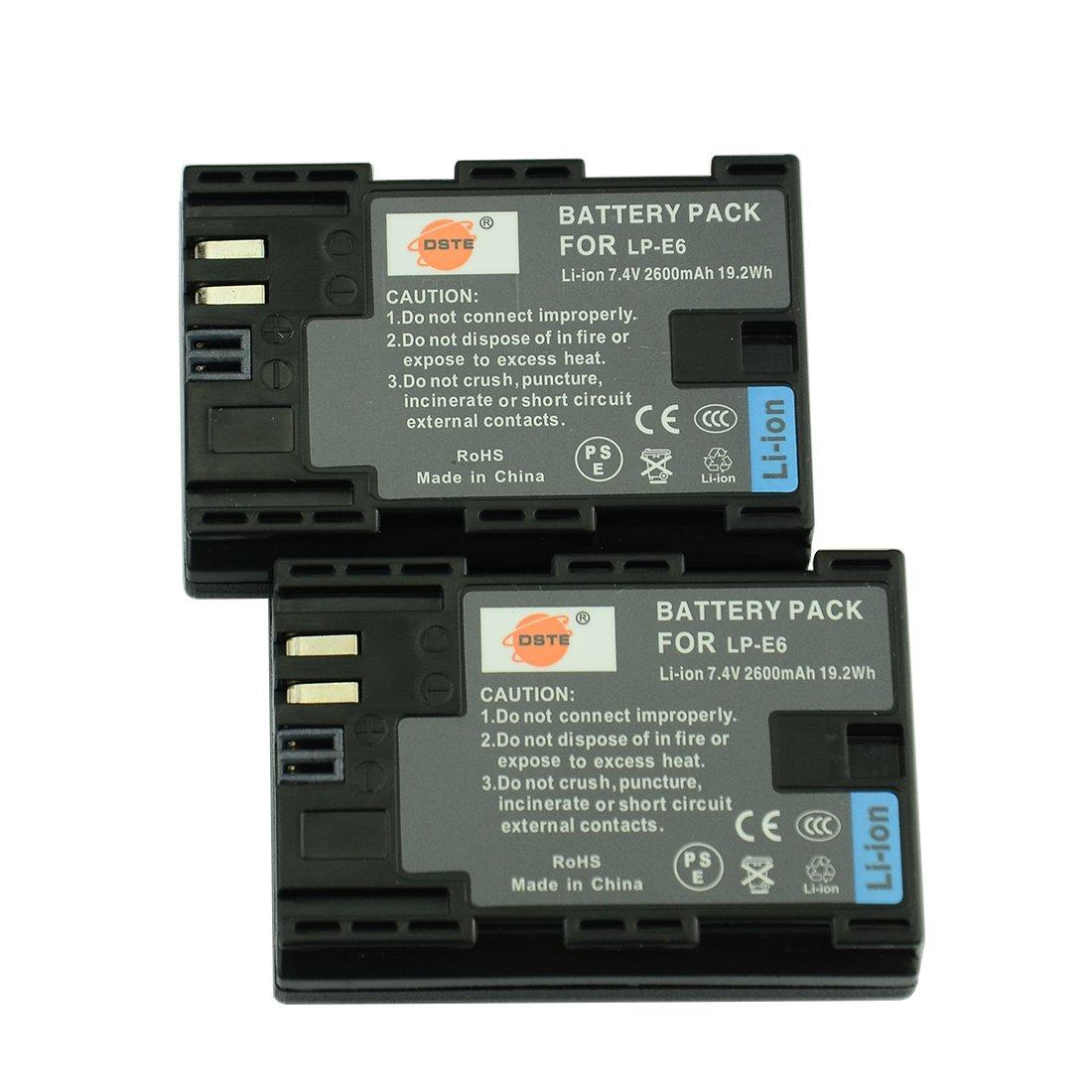 DSTE 2 x LP-E6 Batería de iones de litio de repuesto para Canon EOS 5d mark ii iii 5DS 5DS R 6d 7d 60d 60Da 70d 7d Mark II III (80d XC10