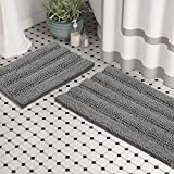 (Set of 2) Bathroom Rugs and Bath Mats by Zebrux, 20x30''+15x23'' Set Extra Soft and Absorbent - Striped Bath Rugs Set for Indoor/Kitchen Rug, Light Grey.