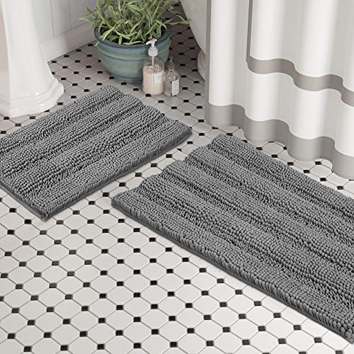 (Set of 2) Bathroom Rugs and Bath Mats by Zebrux, 20x30''+15x23'' Set Extra Soft and Absorbent - Striped Bath Rugs Set for Indoor/Kitchen Rug, Light...