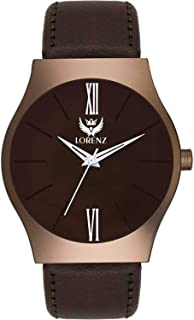 LORENZ Analogue Men's Watch (Brown Dial Brown Colored Strap)