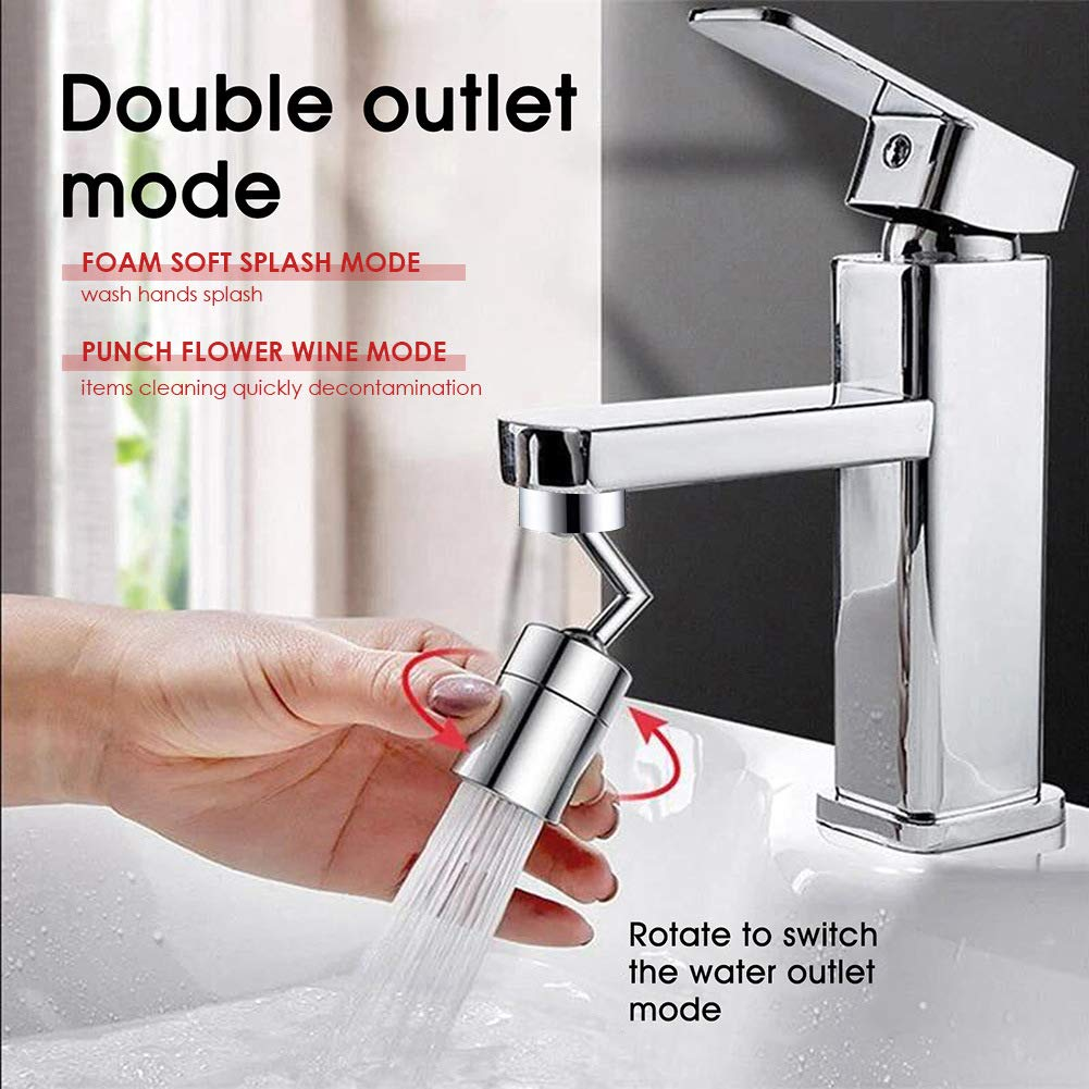 Universal Splash Filter Faucet 720/° Big Angle Spray Aerator Dual Function Kitchen Faucet Aerator Gargle and Eye Flush,for 24mm Tap Interface Bathroom Faucet Mounted for Face Washing