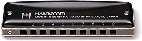 Suzuki HA20C Hammond Harmonica diatonique en do 10 Trous Noir