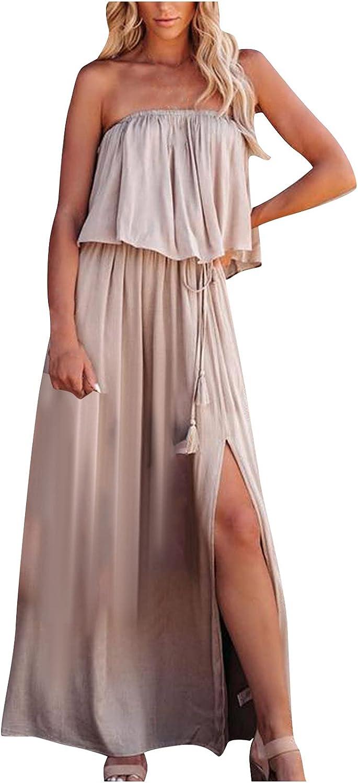 Summer Dresses Maxi Dress Women Casual Tube Top Backless Solid Split Fork Dress Bandage Skirt Suit Khaki