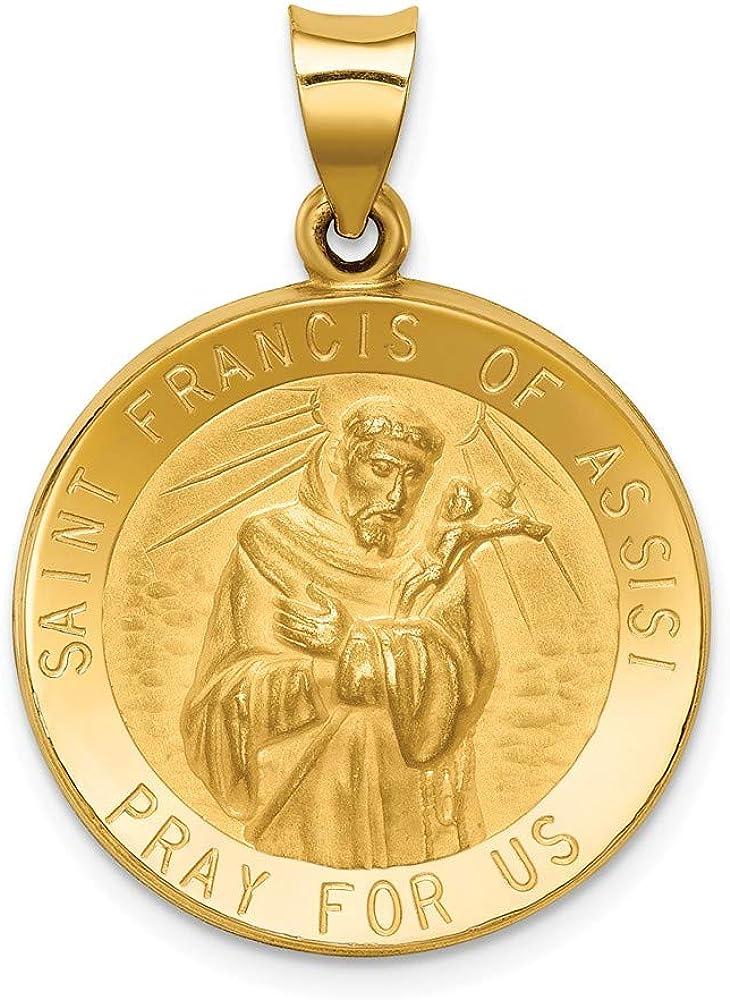 14k Yellow Gold Catholic Patron Saint Francis of Assisi Medal Brushed Matte Finish Pendant Charm - 24mm x 22mm