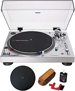 Audio-Technica Direct-Drive Turntable Analog & USB Silver (AT-LP120XUSB-SV) with Essentials Bundle Includes Protective Turntable Platter and Vinyl Record Cleaning System