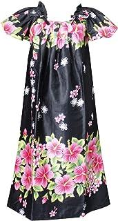 沖縄生まれのムームードレス、フレンチスリーブでゆったり着れます!黒地にピンクのハイビスカスfr-03