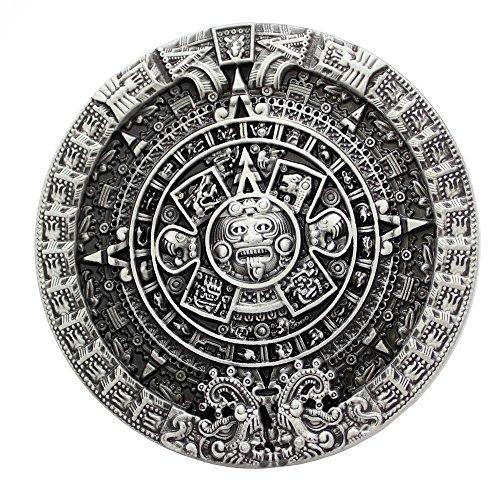 Q&Q Fashion - Hebilla de cinturón para hombre, con diseño detallado de calendario Maya, de color plateado