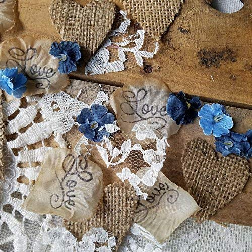 Rustic Wedding Decor, Wedding Decorations for Reception, Bridal Shower, Burlap and Lace Confetti, Centerpieces for Wedding Table, Rustic Flower Petals