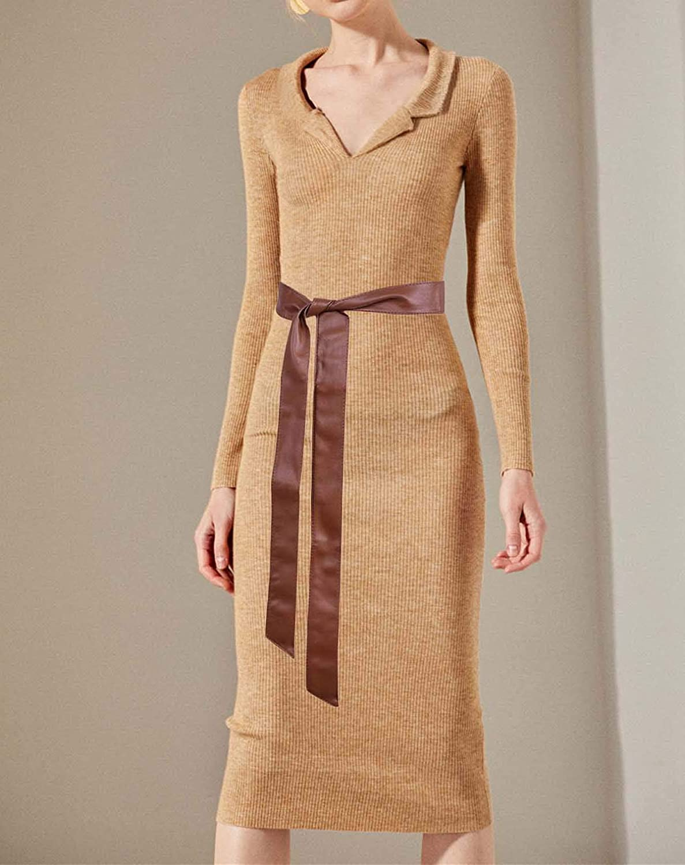 TeeYee Frauen Damen Obi PU Leder Gürtel einfarbig Bereit Tailleband 172cm Tan