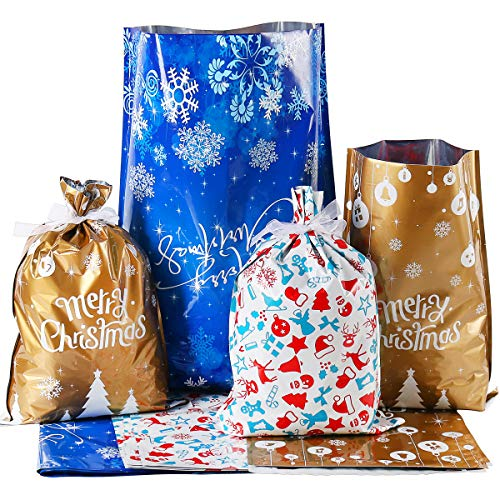 Holiday Foil Gift Bags with Ribbon Ties, 15pcs Gift Wrapping Pouches Christmas Sacks Mylar Goody Bags for Xmas Presents Party Favor, Large Medium