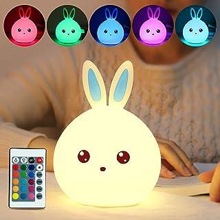 Gobesty Veilleuse à LED en forme de lapin pour enfants - Portable - Rechargeable - USB - En silicone - 7 lumières changean...
