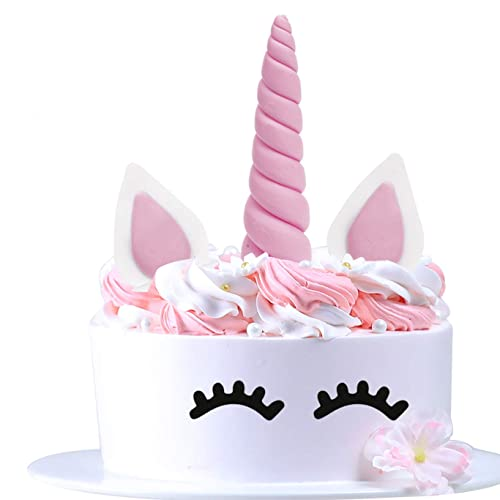 AIEX Unicorn Cake Topper Horn Ears And Eyelashes Set Pink Decoration Party