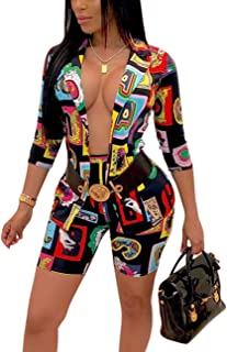 Women's Casual 2 Piece Short Outfits Printed 3/4 Sleeve Blazer Jacket Shorts Suit Set