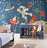 MFFACAI Tapete kreative Karikatur Raum Astronauten Muster Tapete Dekoration Kinder Zimmer Wohnzimmer Restaurant TV Wand Schlafzimmer Tapete