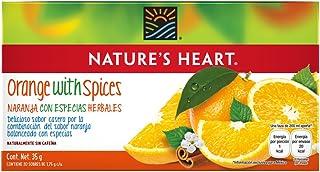Nature's Heart Té de Naranja con Especias Herbales, Naturalmente sin Cafeína, 35 g, 20 Sobres