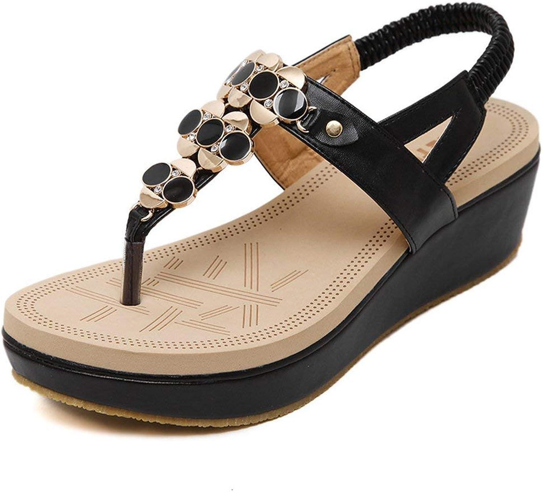 Ghapwe Women's Sweet Bohemian Rhinestone Ankle Strap Platform Wedge Thong Sandals Beige 8 M US