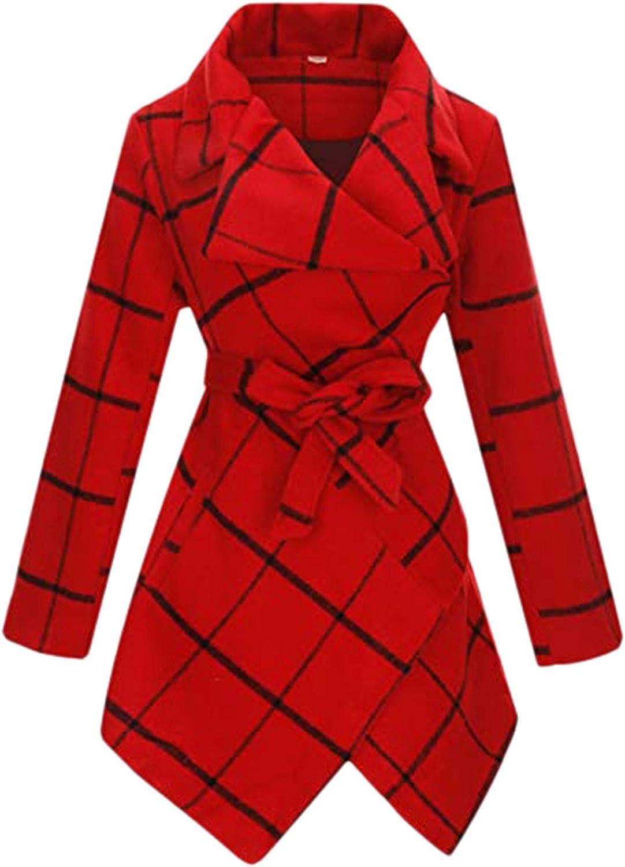 IFOTIME Women Trench Coat Long Sleeve Belted Wool Blend Over Coat Asymmetric Hem Jacket Overcoat Outwear Cardigan