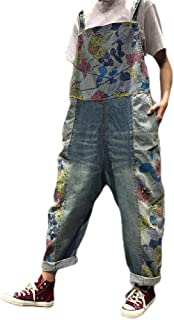 neveraway Women Denim Baggy Style Floral Print Washed Big Pockets Bib Trousers