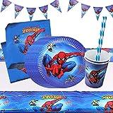Yisscen vajilla para fiesta de cumpleaños, decoración de mesa de cumpleaños para niños, platos, tazas, servilletas, pancartas, juego de decoración para fiesta de cumpleaños (52 piezas)