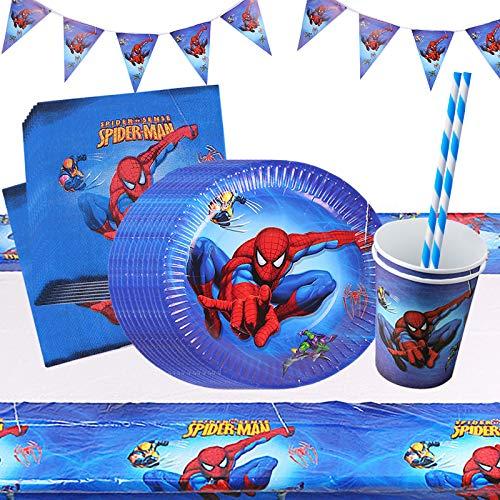 Yisscen Superhéros Anniversaire Vaisselle Avengers Party Décorations Fournitures de Table Assiettes Bannière Tasses Nappe Pailles Spiderman Fêtes Supplies 52 pièces