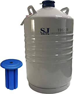 SJ.CRYO 20L Cryogenic Container Liquid Nitrogen LN2 Tank Dewar with 6 Canisters, Cover Bag (SJ YDS-20) (Container Without Canisters)