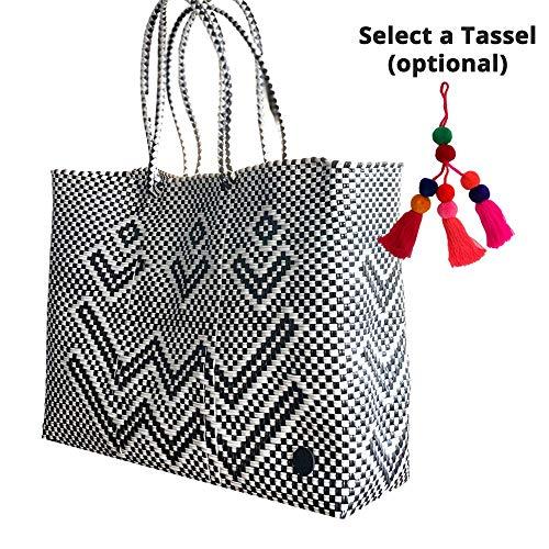 Fashionable Tote Bag, Handmade woven bag, Recycled Plastic, To-Go Bag, Beach Bag, Market Bag, Chic, Colorful Tote, Large Tote, BRISLA BAG, Black/White VVV Pattern