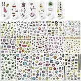 Qpout 600+ piezas calcomanías de pegatinas de uñas de verano, Etiqueta autoadhesiva 3D para uñas, patrón de colores mezclados Flor Flamingo Panda calcomanías para mujeres niñas niños DIY salón de uñas