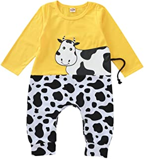 Newborn Baby Boys Girls Long-Sleeve Romper Cow Onesies Bodysuit Footed Jumpsuit Infant Outfits