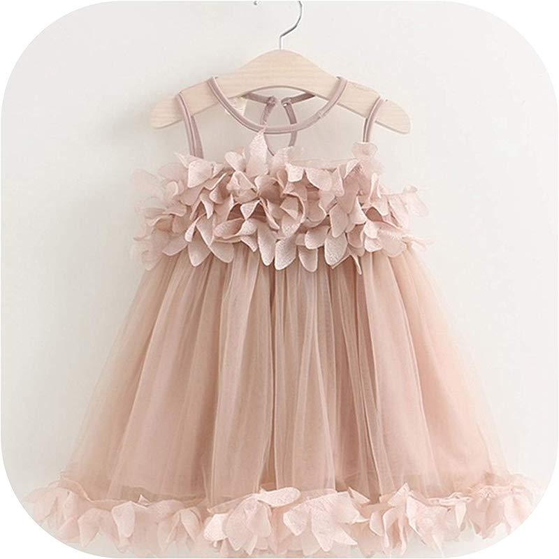 Baby Girl Dress Toddler Kids Party Dress Summer Childrens Clothing Girls Gauze Pink Applique Petal Dress Pink 4T