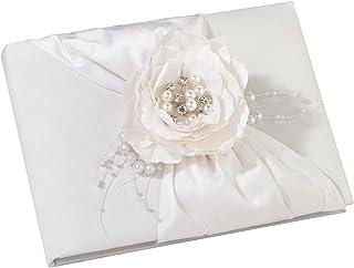كتاب ضيوف الزفاف المزين بالزهور البيضاء من ليليان روز