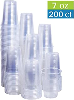 TashiBox 7 oz Clear Plastic Cups - Disposable Cold Drink Party Cups (200)