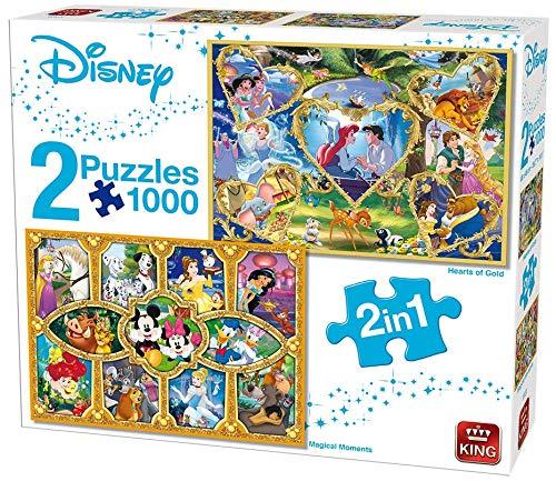 King 55920 Disney 2-in-1-Puzzle, 1000 Teile – Herzen von Gold & Filmzauber (Spie...