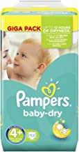 Baby Dry Size 4+ Nappies Giga Pack 9-18kg kg. 112 Nappies per Carton