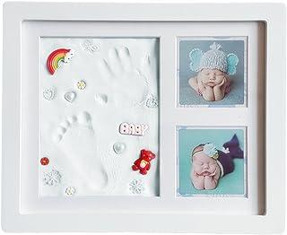 PUDOON ベビーフレーム 手形 赤ちゃん 足形 粘土 フレーム 安全な非毒性 卓上壁掛両用 品質の木製フレーム 出産祝いの品用 記念品 ベイビーギフト 男女兼用 日本語説明書付 (ホワイト)