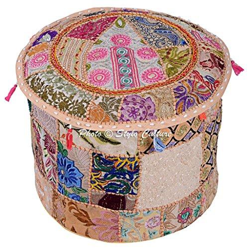 Estilo de Cultivo de algodón Patchwork Bordado otomano Taburete Pouf Cubierta Beige Floral