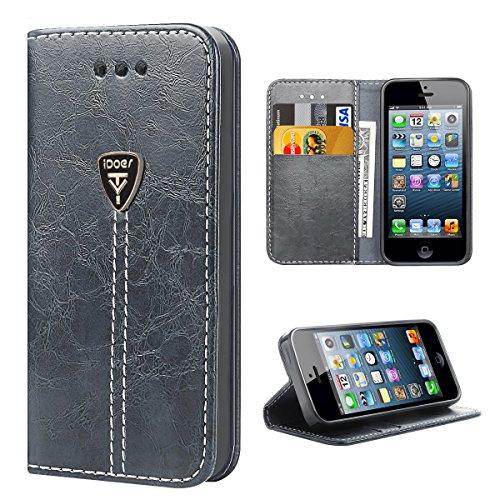 iPhone 5 Hülle,Hochwertig handyhülle iPhone 5 mit klappe tasche handyhuelle schutzhülle Handys Schutz Hülle PU Leder magnet handytasche bookstyle Flip Case für Apple iPhone 5 5S SE mit Ständer - Grau