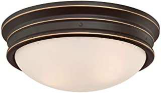 Westinghouse Lighting 6370600 Meadowbrook 13-Inch, Two-Light Indoor Flush Mount Light Fixture, Oil Rubbed Bronze Finish and Frosted Glass