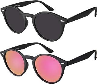 Original La Optica UV400 Unisex Retro Round Sunglasses - Colours, Single/Twin Pack, Mirrored