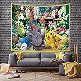 Tapiz de Pikachu para Colgar en la Pared Cartel de Fondo de Animación Tapices de Anime, Arte de Pared, Decoración Estética para el Hogar, Sala de Estar, Dormitorio, Dormitorio 60 x 40 pulgadas