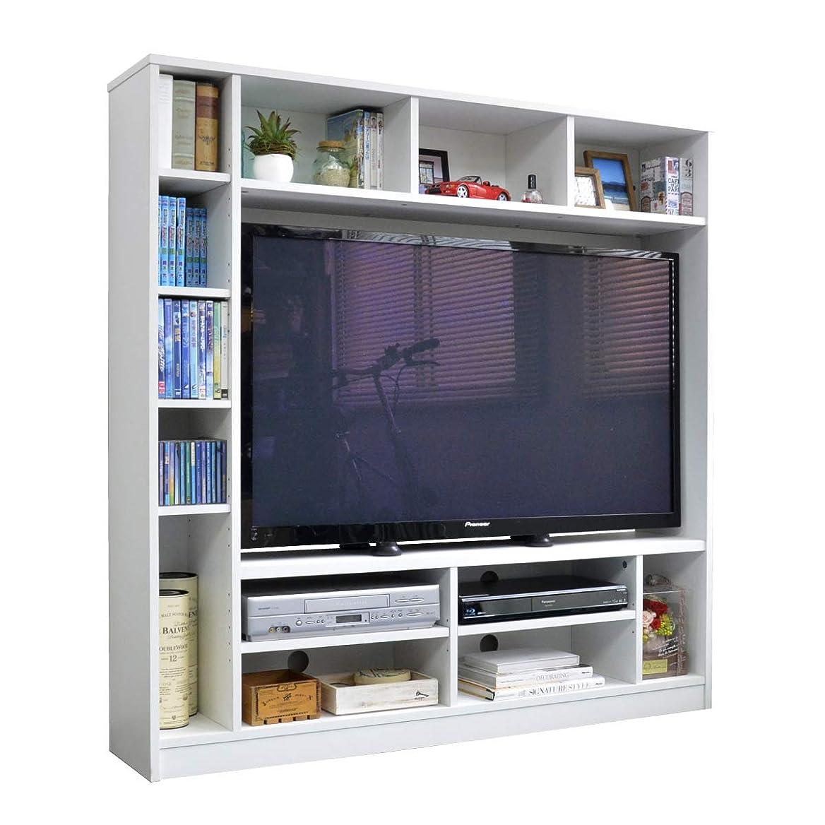 整然とした広告主失うテレビ台 ハイタイプ 壁面家具 リビング壁面収納 50インチ対応 TV台 テレビラック ゲート型AVボード 135cm幅 ホワイトTCP362-WH J-Supply