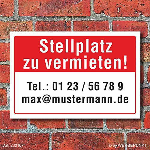 Schild Stellplatz zu vermieten wetterfest 3 mm Alu-Verbund 450 x 300 mm