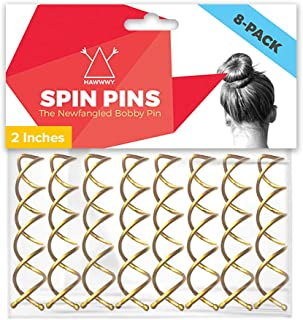 Hawwwy Spiral Bobby Pins 8 Pack Spin Pins, Easy & Fast Bun Maker Twist Hair Pins for Women Kids, Updo Hair Accessories, Me...